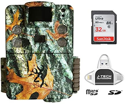 Browning Strike Force HD PRO X 2019 Trail Game Camera 20MP with 32GB Memory Card and J-TECH iPhone iPad Android USB Memory Card Reader BTC5HDPX