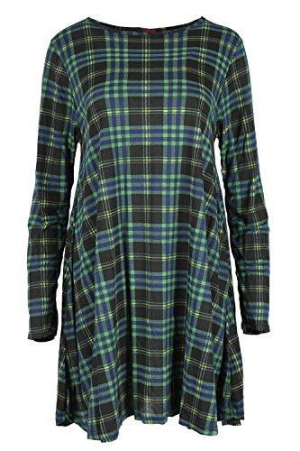 Femmes Marne Écossais Argent Clous Nœud Dos Mini Robe Femmes Manches Longues Baggy Swing Évasé Top - Tartan Vert, S/M (EU 36/38)