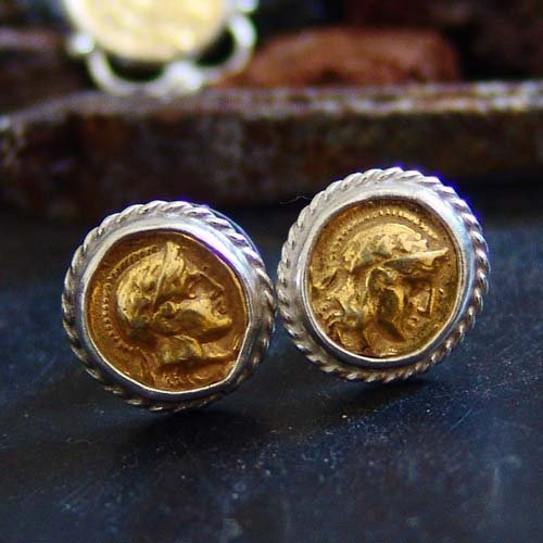 Ancient Roman Art 2 Tone Stud Coin Coin Earrings By Omer 925 k Sterling Silver Ancient Coin Earrings