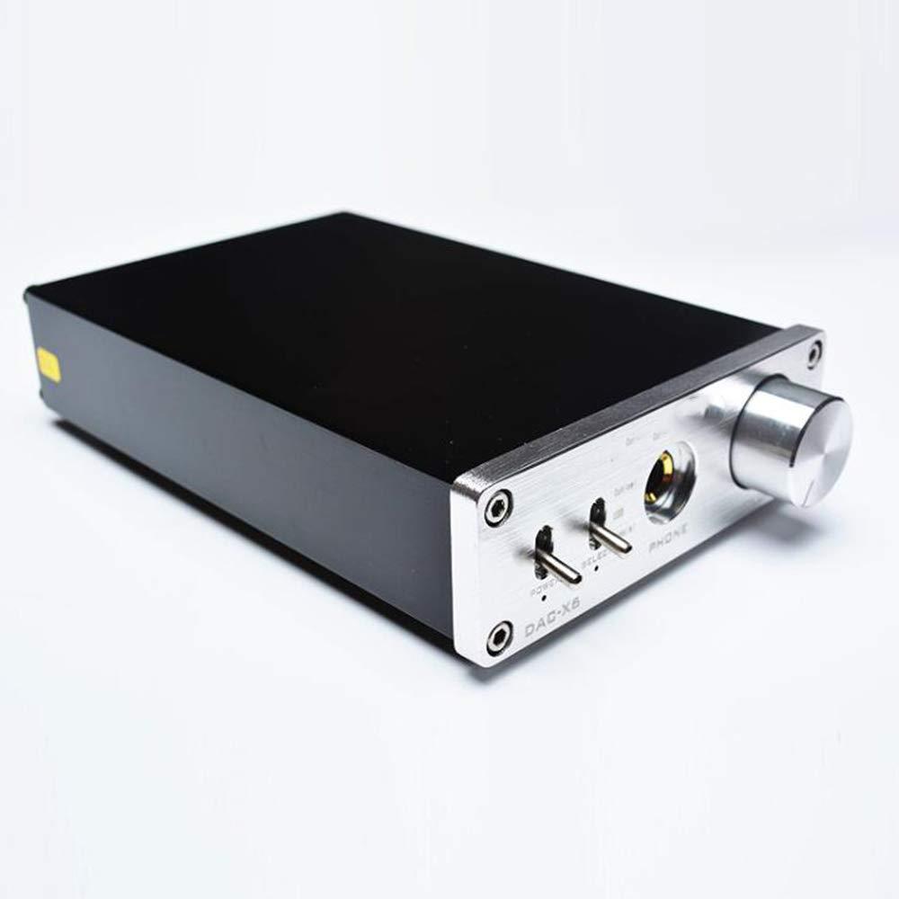 YUEC Decodificador de Audio, DAC-X6 HiFi 2.0 Decodificador de Audio Digital DAC Entrada USB/Salida coaxial/óptica RCA/Amplificador 24Bit / 96khz DC12V,Black