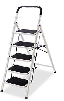 WYDM Escalera de aleación de aluminio de 5 peldaños con empuñadura antideslizante Pedal antideslizante portátil Taburete plegable Hogar Taburete de cocina pequeño multifunción, Escalera de seguridad d: Amazon.es: Electrónica