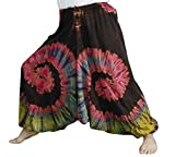 Loong Cha's Women Tie Dye Pants Baggy Aladdin Hippy Harem Adjustable Waist (Brown)