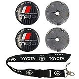 trd wheel center cap - New 1pcs Toyota Keychain Lanyard Badge Holder + 4pcs set 60mmx60mm TRD Emblem Wheel Hub Caps Center Cover Fit For Toyota Camry / Prius / Reiz / Corolla / Vios