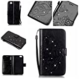 iPhone 7 plus Case, [Wrist Strap] [Stand Feature] PU Leather [beautiful tree] Flip Wallet Case Cover for 5.5 inch iPhone 7 plus with Screen Protector And Stylus Pen (Black)