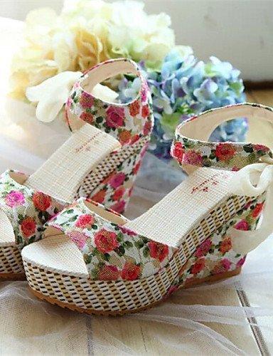 LFNLYX Zapatos de mujer - Tacón Cuña - Punta Abierta - Sandalias - Vestido - Semicuero - Negro / Amarillo / Rojo Yellow