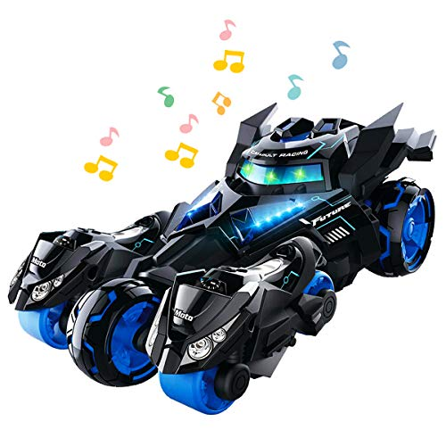 YITOOK Pull Back Vehicles,【Upgraded Version】 3 in 1 Air Pull Back Car Toys Friction Powered Vehicles Include 2 Motocycles with Fun Lights & Sounds Gifts for Children Kids Boys Girls (Black)
