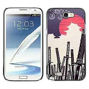 ROKK CASES / Samsung Note 2 N7100 / JAPANESE SAMURAI KATANA CEMETERY / Delgado Negro Plástico caso cubierta Shell Armor Funda Case Cover