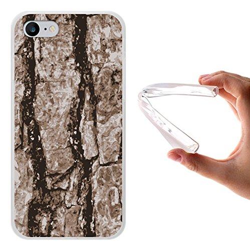 iPhone 8 Hülle, WoowCase Handyhülle Silikon für [ iPhone 8 ] Hölzerne Struktur Handytasche Handy Cover Case Schutzhülle Flexible TPU - Transparent