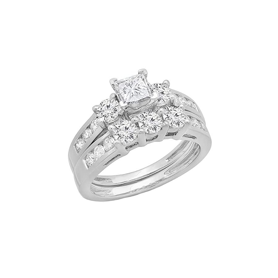 1.90 Carat (ctw) 14K White Gold Princess & Round Diamond 3 Stone Bridal Engagement Ring Set