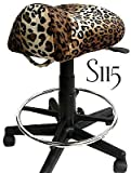 Leopard Saddle Stool with Foot Rest Ring
