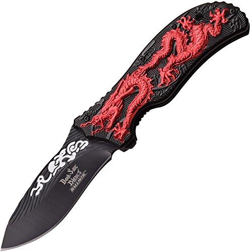 DS-A042RD-MC 4.75 pulgadas carpeta, hoja gráfica, dragón rojo y mango de aluminio negro con clip de bolsillo, cuchillo...