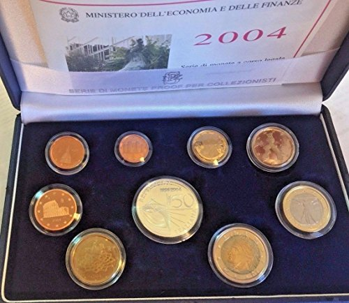 IT 2004 Italy 2004 Official Euro Set 9 Coins 50th Anniver Good