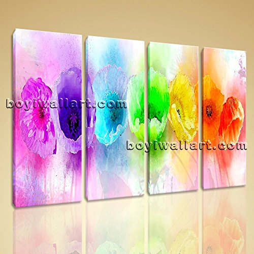 Large Rainbow Color Flower Art Floral Picture Impressionist Wall 4 Panels Print, Floral Wall Art