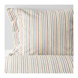 Ikea Rajgras Queen Duvet Cover and Pillowcases with Thin Multicolor Stripes on White Background