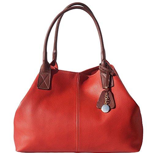 BORSA SHOPPING IN VERA PELLE DI VITELLO 3015 Rosso-marrone