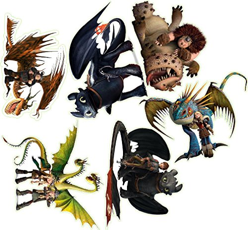 How to train your dragon 6 pieces Decal Movie WALL STICKER Home Decor Art Sticker Room Decor ()