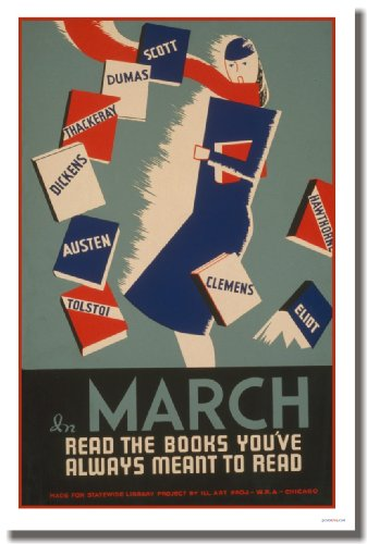 In March - Read the Books You've Always Meant to Read - Vintage Reproduction Poster