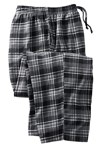 (KingSize Men's Big & Tall Flannel Plaid Pajama Pants, Black Plaid Big-2Xl)