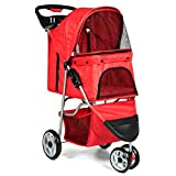 Best Choice Products 3-Wheel Folding Pet Stroller Travel Carrier Carriage For Cats And Dogs - Red