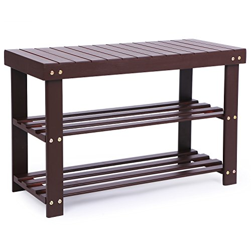 BEWISHOME Bamboo Shoe Rack Bench, 2-Tier Hallway Shoe Storage Bench,Shoe Shelf Storage Organizing Entryway for Bedroom,Bathroom, Livingroom, Patio, Cubby Closet,and Foyer Brown KXD01Z by BEWISHOME
