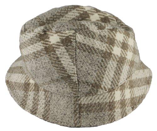 Burberry Womens Beige Dove Bucket Nova Check Wool Cap - Men Hat Burberry