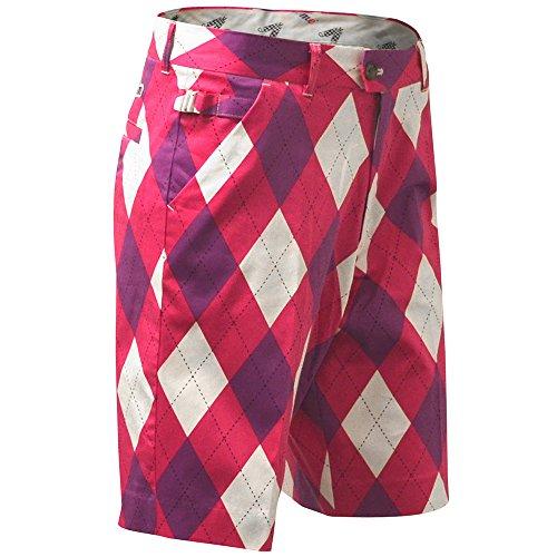 Back Slit Shorts - Royal & Awesome Men's Plus Size Golf Shorts, Back To The Fuchsia, 44