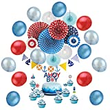 Nautical Baby Shower Decoration Kit Cupcake Toppers Pennant Banners for Nautical Birthday Party Red White Blue Color SUNBEAUTY