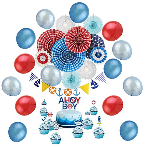 Nautical Baby Shower Decoration Kit Cupcake Toppers Pennant Banners for Nautical Birthday Party Red White Blue Color SUNBEAUTY -