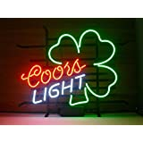 New Coors Light Shamrock Real Glass Beer Bar Display Neon Signs 19x15
