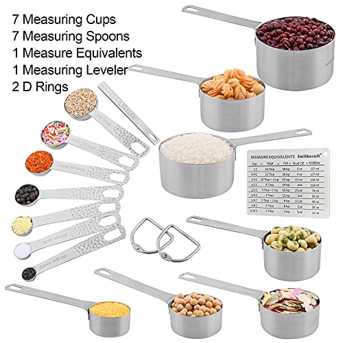 Measuring Cups and Measuring Spoons Set, Measuring Cups 7, Measuring Spoons 7 Stainless Steel Measuring Cups and Spoons Set of 16pcs Complete Professional Measurer Ingredients Leveler