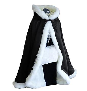 63f3f97dd Black Short Women Fur Winter Warm Hood Cape Shawl Wedding Cloak ...