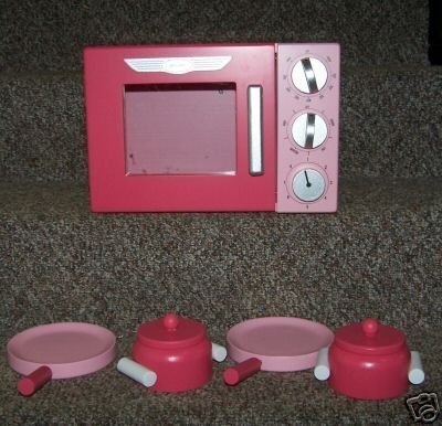 Silver Retro Play Kitchen (New Wooden Pink Retro Microwave with Pots & Pans for Play Kitchen)