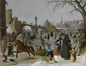 Oil painting 'Sebastiaan Vranckx,Winter Pleasures,1573-1647' printing on Linen Canvas , 10x13 inch / 25x33 cm ,the best Gym artwork and Home decor and Gifts is this High quality Art Decorative Prints on Canvas