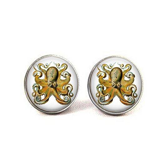 Octopus by Ernst Haeckel - Victorian Naturalist Jewelry - Octopus Cufflinks - Gift for Snorkler Or Scuba Diver - Octopus Jewelry - Kraken