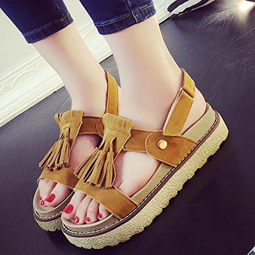 cómodos RUGAI Camel Sandalias UE gruesa plana de slip zapatos verano T0Trf