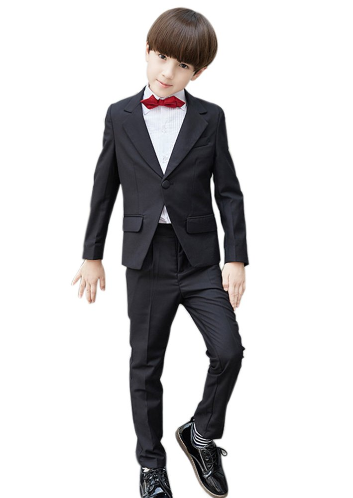 SK Studio Boys' 5 Pieces Wedding Solid Color Dress Formal Suits Black by SK Studio