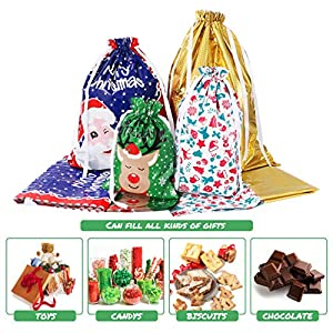 Amosfun Christmas Drawstring Gift Bags 30pcs Assorted Christmas Gift Wrapping Bags Upgraded Christmas Goodie Bags for Birthday Christmas Party