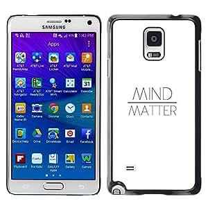 Paccase / SLIM PC / Aliminium Casa Carcasa Funda Case Cover para - Over Matter Quote Text White Motivational - Samsung Galaxy Note 4 SM-N910F SM-N910K SM-N910C SM-N910W8 SM-N910U SM-N910