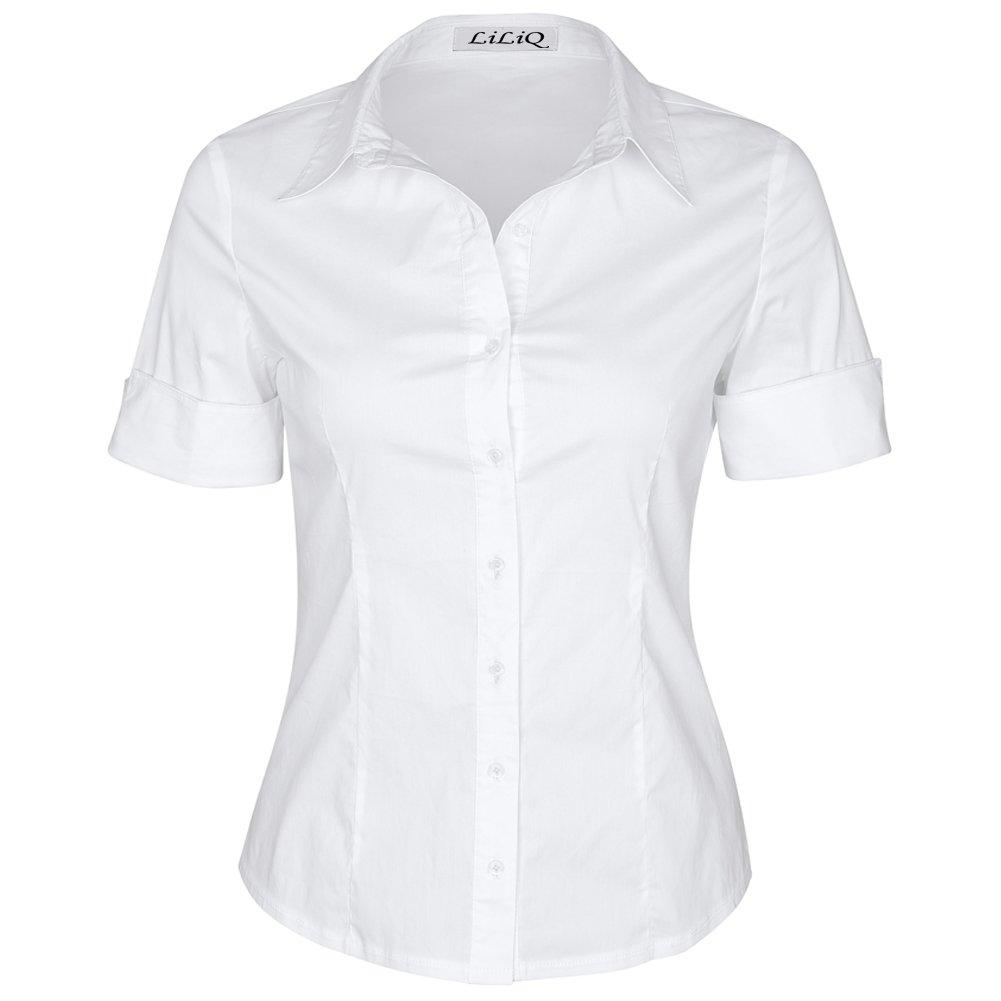 White LiLiQ Women Short Sleeve Basic Formal Work Wear Oxford Button Down Shirt with Stretch