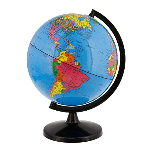 World Globe Great for Kids and Adults with Stand Desk 8 Inch Globe 12 Inch Educational Deluxe Blue Ocean Black Base Full Earth Geography ... (Blue Ocean, 8 Inch Diameter)