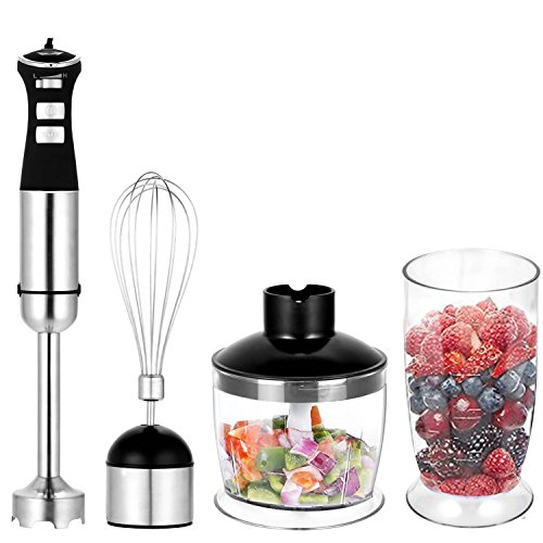 Cheap Meykey Hand Immersion Blender 5-Speed Control 330 Watt Stainless Steel 4-in-1 Multifunctional Mixer with Chopper, Whisk, Blender Jar, Beaker Attachment for Fruit Baby Food Sauce and Smoothies Black