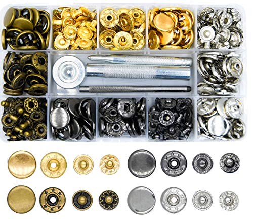 LYNDA 80 Sets Metal Snap Fasteners, 4 Colors Snap Fasteners with 4 Pieces Fixing Tools,Used in Leather Craft, DIY Craft, Overalls, Jacket and Jeans,15mm in Diameter