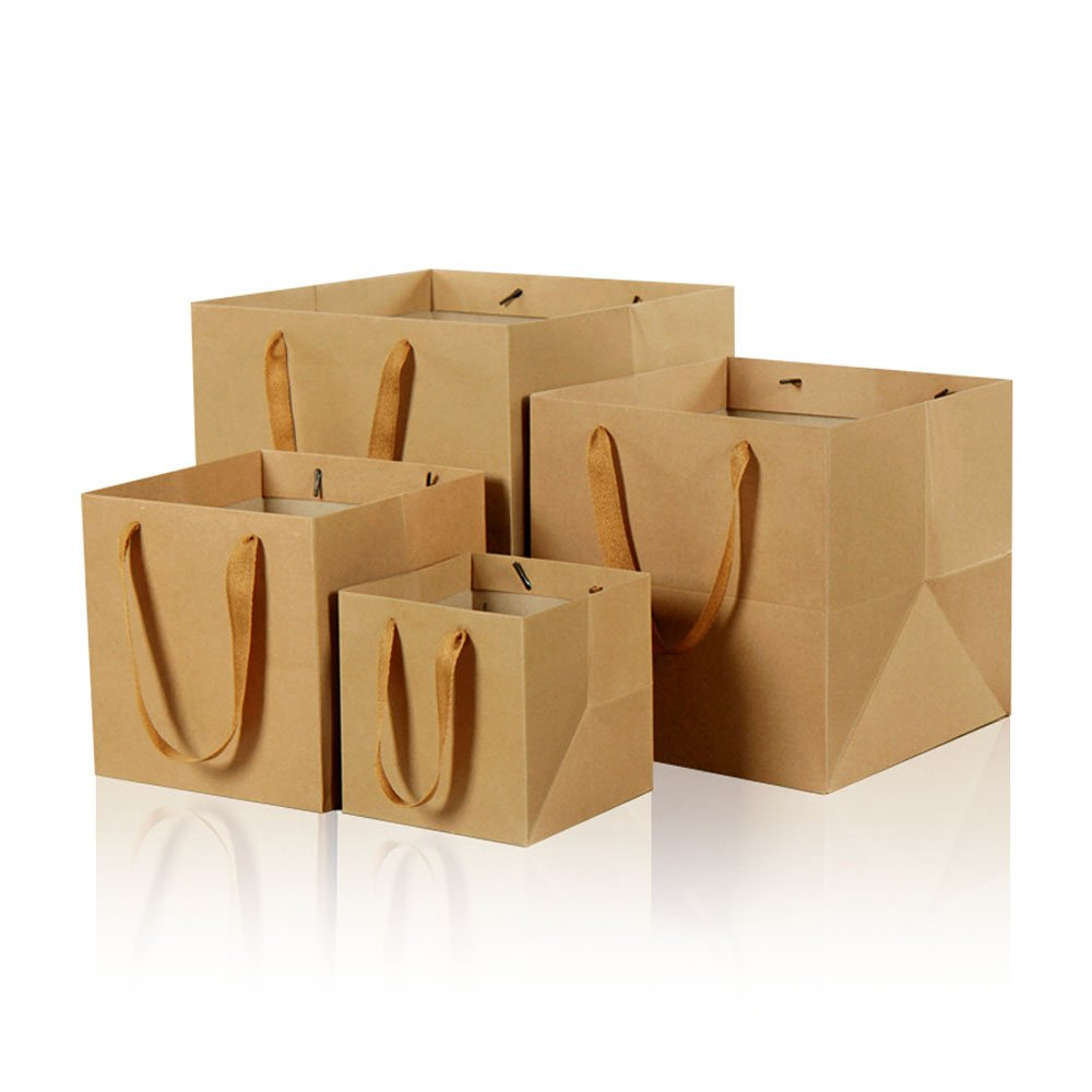 7.8inch Square Brown Kraft Paper Bags Flowers Gift Bags With Ribbon Handles,Pack of 12