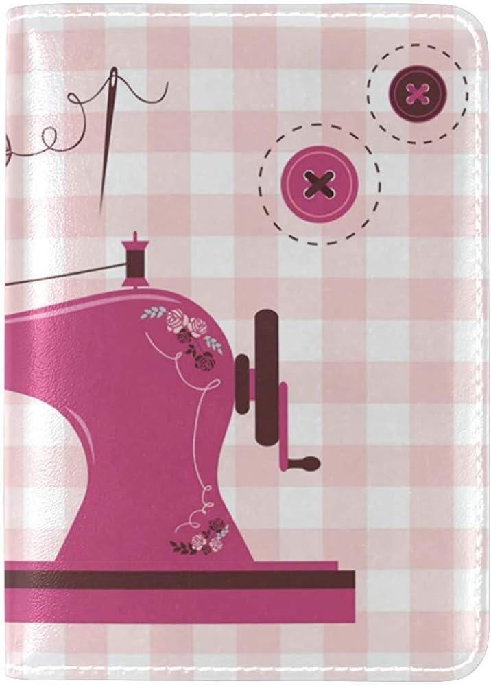Funda de Viaje Rosa Vintage máquina de Coser Genuina Cuero Real EE. UU. Pasaporte Titular: Amazon.es: Equipaje