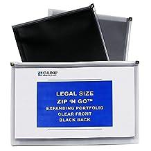 C-Line Zip 'N Go Expanding Portfolios, Legal Size, 15 x 12-Inch, Black/Clear, 5-Pack (48101)