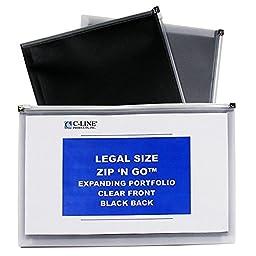 C-Line Zip \'N Go Expanding Portfolios, Legal Size, 200-Sheet Capacity, Black/Clear, 5 per Pack (48101)