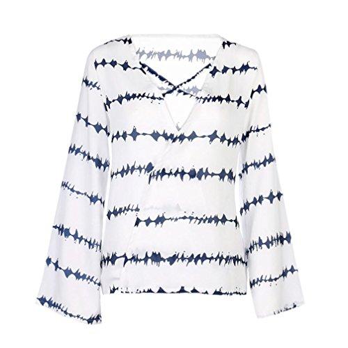 Ray Shirts Chevauchement Blouse Haut Bleu S Taille V Vrac en Sexy Col Manche Chemises ~ Longue Shirt Femmes XXXL Fille Chemisier Wolfleague Casual T Grande Chiffon qp1w6nF