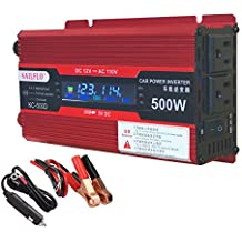 Power Inverter 500W/1000W DC 12V to 110V AC Car Inverter Outlets 2 AC Ports Charger Travel Kit Portable Converter for Laptop (500W)