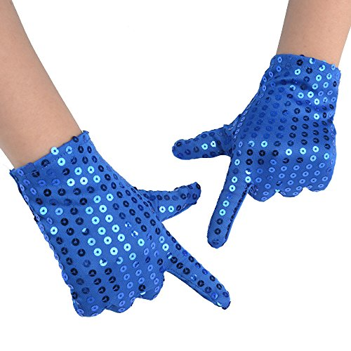 JISEN Child Costume Dress up Dance Sequin Cosplay Party Halloween Gloves Age 3-7 Blue