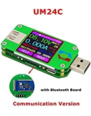 AiLi UM24C USB 2.0 Power Meter Tester USB Multimeter Color LCD Display Voltage Current Meter Voltmeter Amperimetro Battery Charge Measure Cable Resistance with Bluetooth